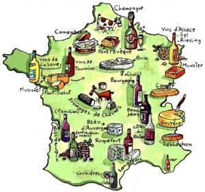 Tabla de quesos segun provincia en Francia